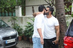 Suniel Shetty Spotted With His Son Ahan Shetty At Sajid Nadiadwala's Residence