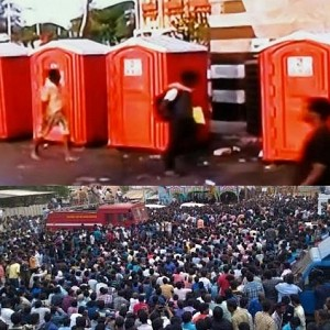 A film producer sponsors mobile toilets for protesters!