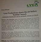 Lyca Productions clear the air before Kaththi launch