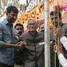 Vishal hoisting National Flag