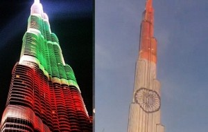 Indian flag decorated on Burj Khalifa | Republic Day