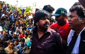 Mass protest at Marina beach for Jallikattu