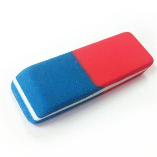 Blue part of the eraser can erase ink