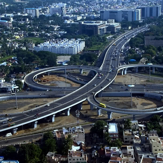 Kathipara flyover is the largest Clover leaf shaped flyover in Asia.