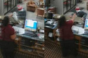 Video: Man stealing hotel leaves gun on table to take cash, woman takes it, chases him away!