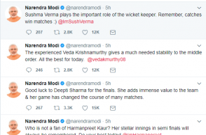 PM Modi tweets individual wishes to women players
