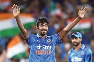 Jasprit Bumrah scores his first run in International cricket