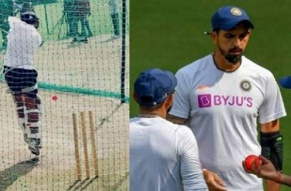 IND vs BAN Virat Kohli team practice with pink ball in nets