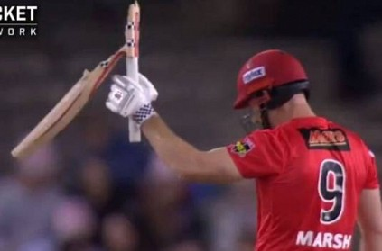 Lance Morris breaks Shaun Marsh's bat into two pieces in BBL