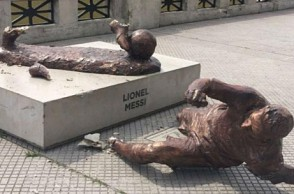 Popular footballer's statue vandalized