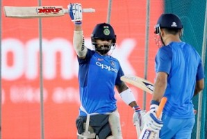 Virat Kohli greets MS Dhoni with iconic 'Helicopter-Shot' gesture
