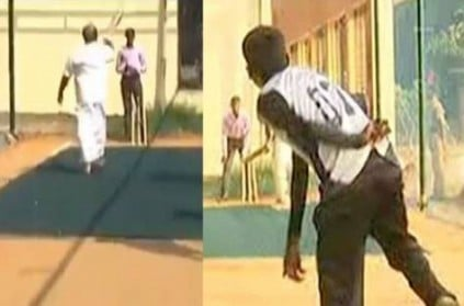TN- minister jayakumar playing cricket in chennai college - goes viral