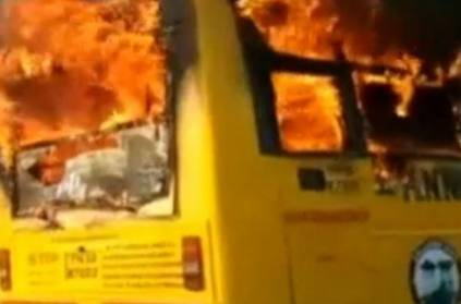 College bus in perungalathur chennai was set in fire