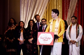 Justin Trudeau shows up in 'Veshti', wishes in Tamil