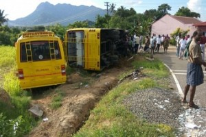 Namakkal: Racing college buses overturn, students suffer injuries