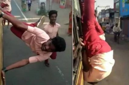 Tamil Nadu school students perform dangerous stunts on bus