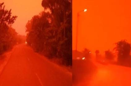Sky turns blood red Indonesia, Jambi region, forest fire