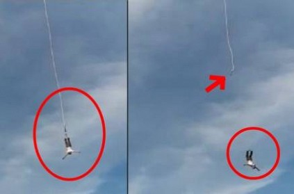 Video: Man falls after bungee jumping rope breaks