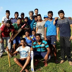 SS Rajamouli plays cricket with a local Tamil cricket team