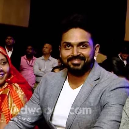 Karthi's reaction to his AV at Behindwoods Gold Medals 2018