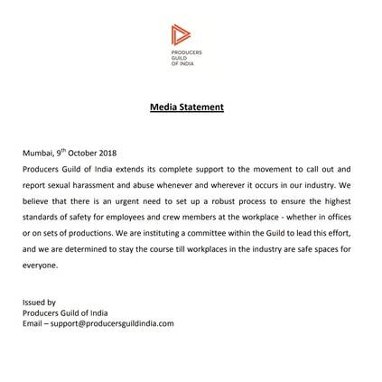 Producer's Guild of India backs harassment victims