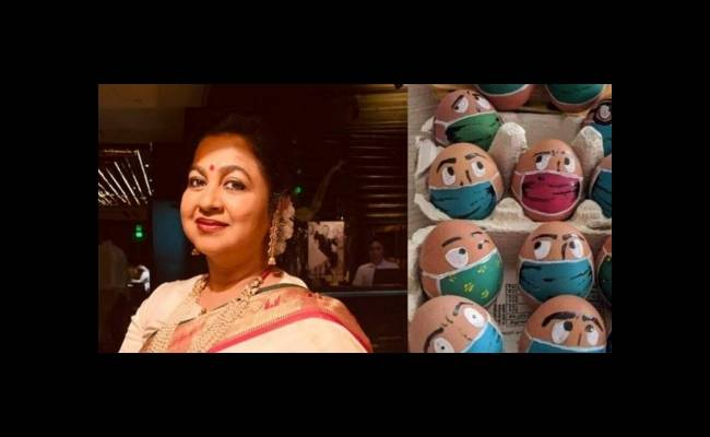 Radikaa Sarathkumar shares an image of painted eggs on Twitter to wish fans and followers on Easter.