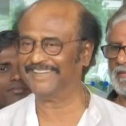 Rajinikanth speaks a dialogue from Petta to the media