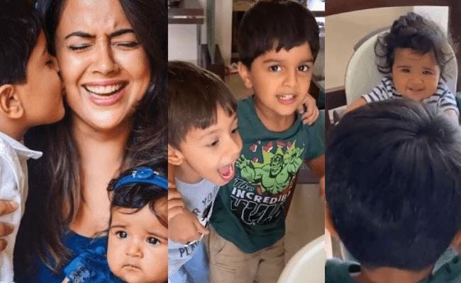 Sameera Reddy's son sings for his baby sister.
