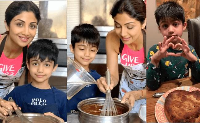 Shilpa Shetty's son Viaan bakes cakes during quarantine.