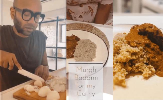 Singer Bennydayal cooking murgh badami gravy for his wife Catherinedayal