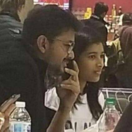 Thalapathy Vijay Eating With his Daughter in Canada