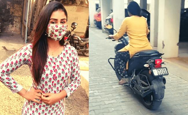 This popular Vijay TV actress stuns fans riding a bike; viral video ft Alya Manasa
