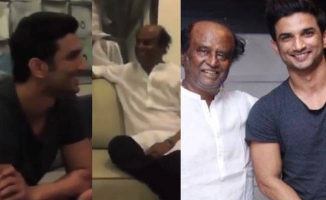 Throwback video of Sushant and MS Dhoni meeting Rajinikanth