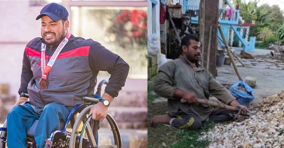 Former captain of wheelchair cricket team works as labourer