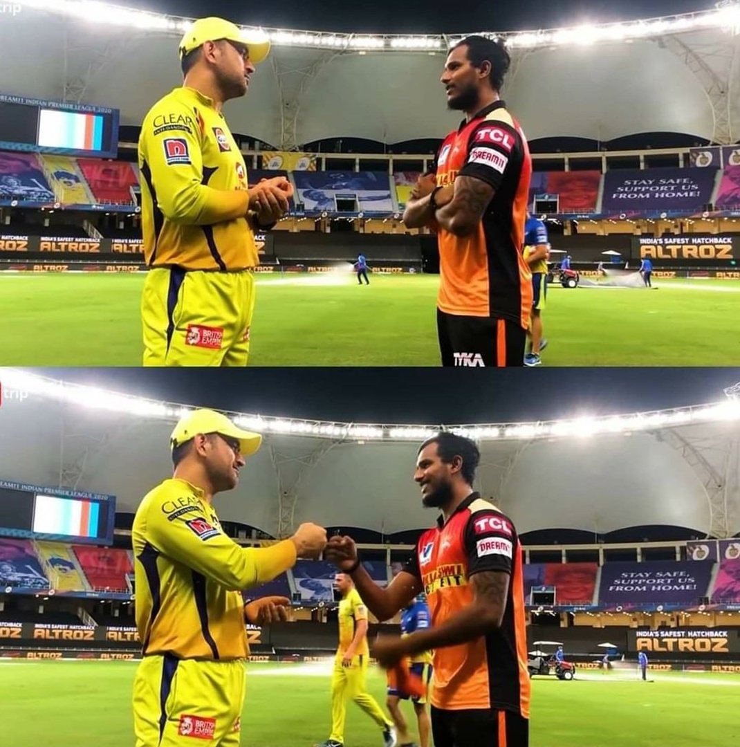 srh natarajan meets dhoni after the match and pics gone viral