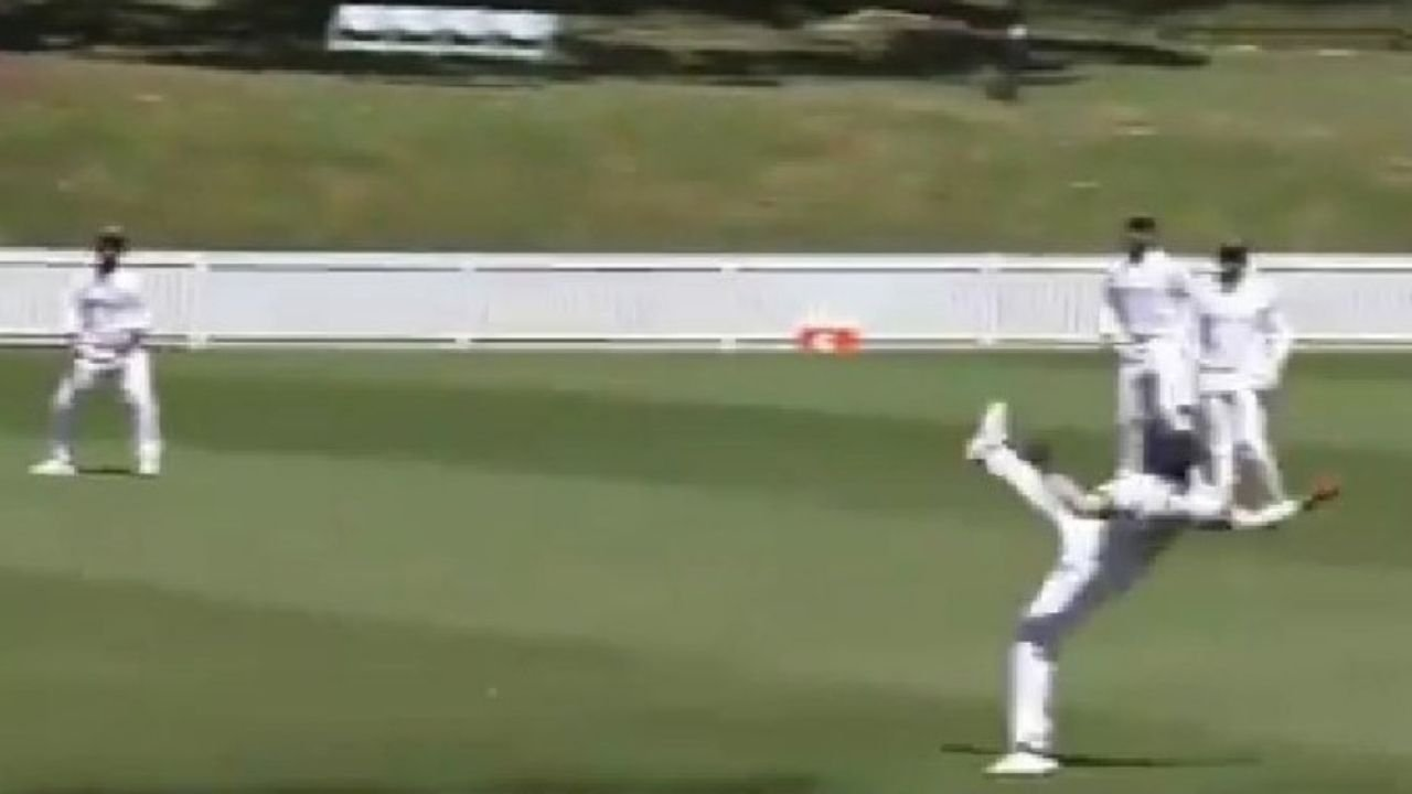 prithvi shaw takes one handed stunner to dismiss tim paine video