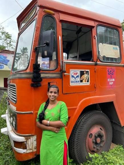 Delisha Davis from Kerala drives a tanker lorry that transports fuel
